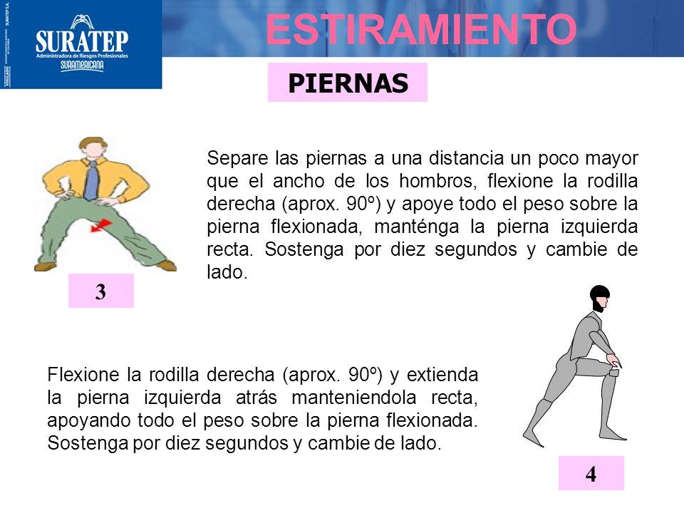 PIERNAS De pie, con las piernas separadas, y rodillas ligeramente dobladas, comience a bajar hasta donde resista. Repita tres veces. 1 ESTIRAMIENTO 2