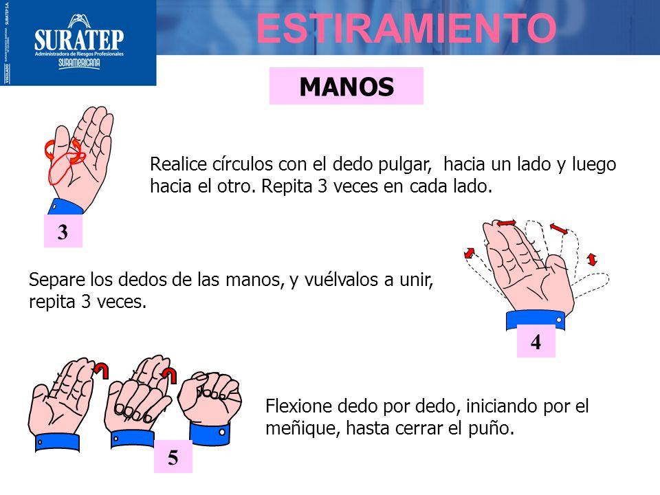 MANOS 3 Realice círculos con el dedo pulgar, hacia un lado y luego hacia el otro.