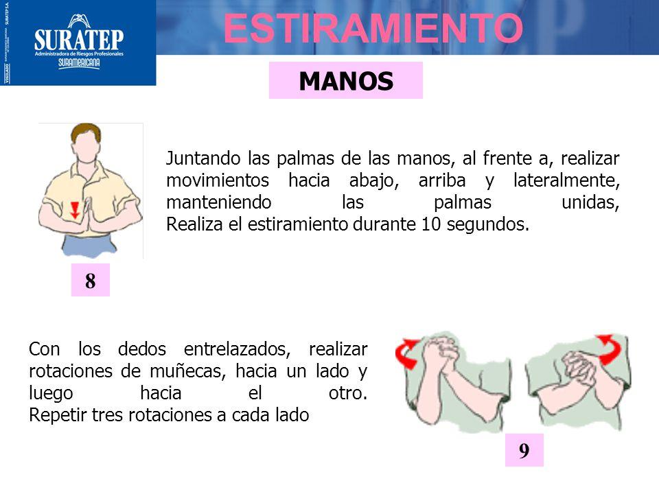 MANOS ESTIRAMIENTO Juntando las palmas de las manos, al frente a, realizar movimientos hacia abajo, arriba y lateralmente, manteniendo las palmas unidas, Realiza el estiramiento durante 10 segundos.