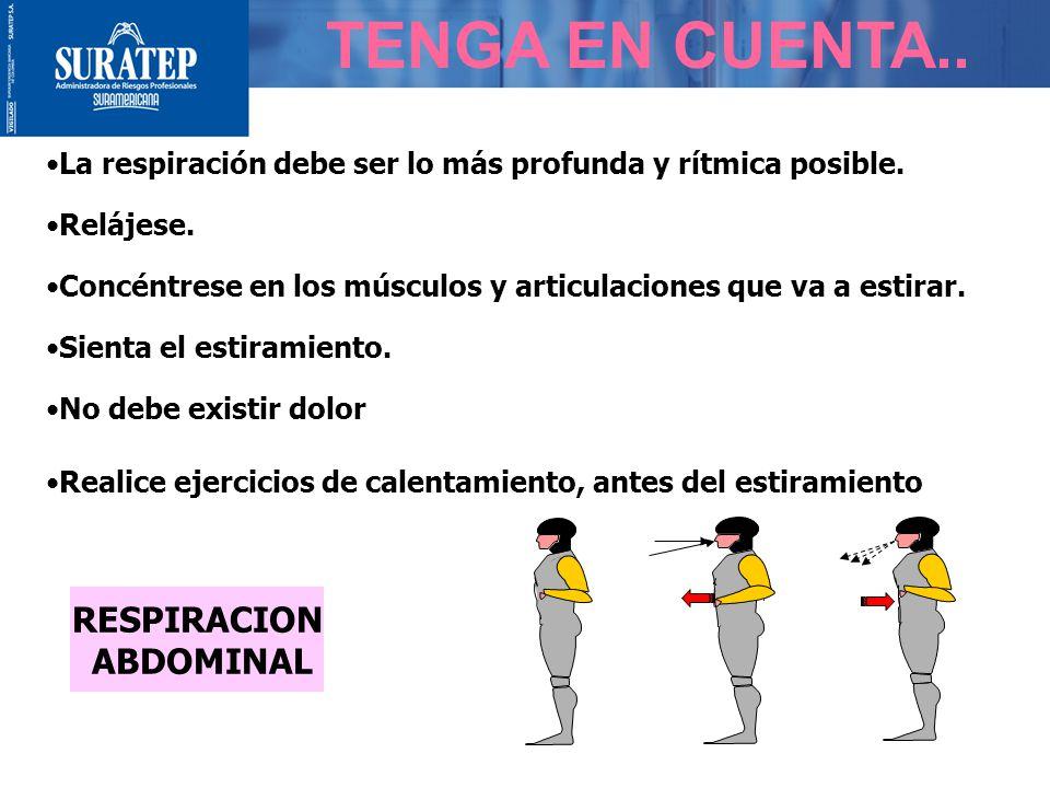 TENGA EN CUENTA..RESPIRACION ABDOMINAL La respiración debe ser lo más profunda y rítmica posible.