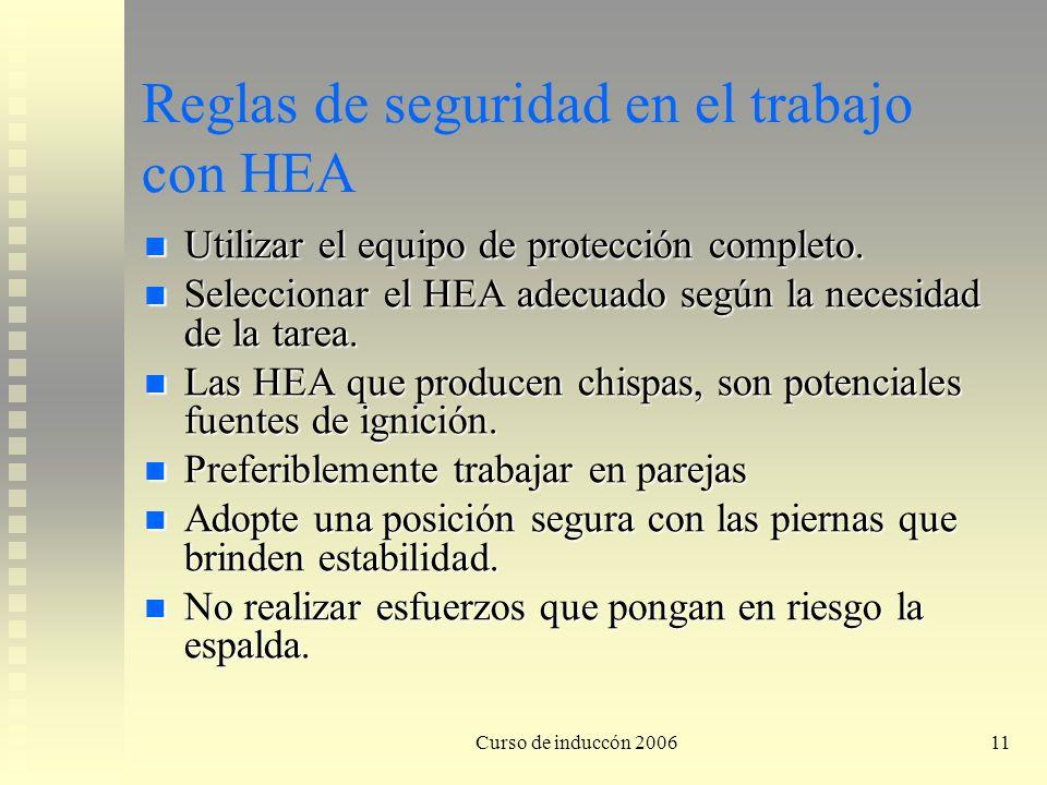 Curso de induccón 200611 Reglas de seguridad en el trabajo con HEA Utilizar el equipo de protección completo. Utilizar el equipo de protección complet