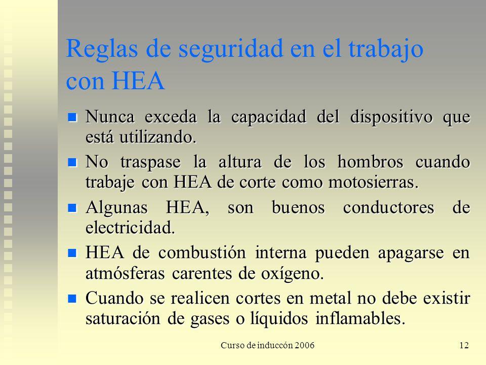 Curso de induccón 200612 Reglas de seguridad en el trabajo con HEA Nunca exceda la capacidad del dispositivo que está utilizando. Nunca exceda la capa