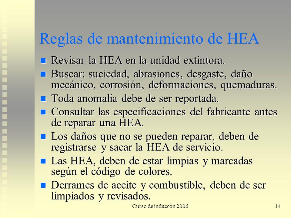 Curso de induccón 200614 Reglas de mantenimiento de HEA Revisar la HEA en la unidad extintora. Revisar la HEA en la unidad extintora. Buscar: suciedad