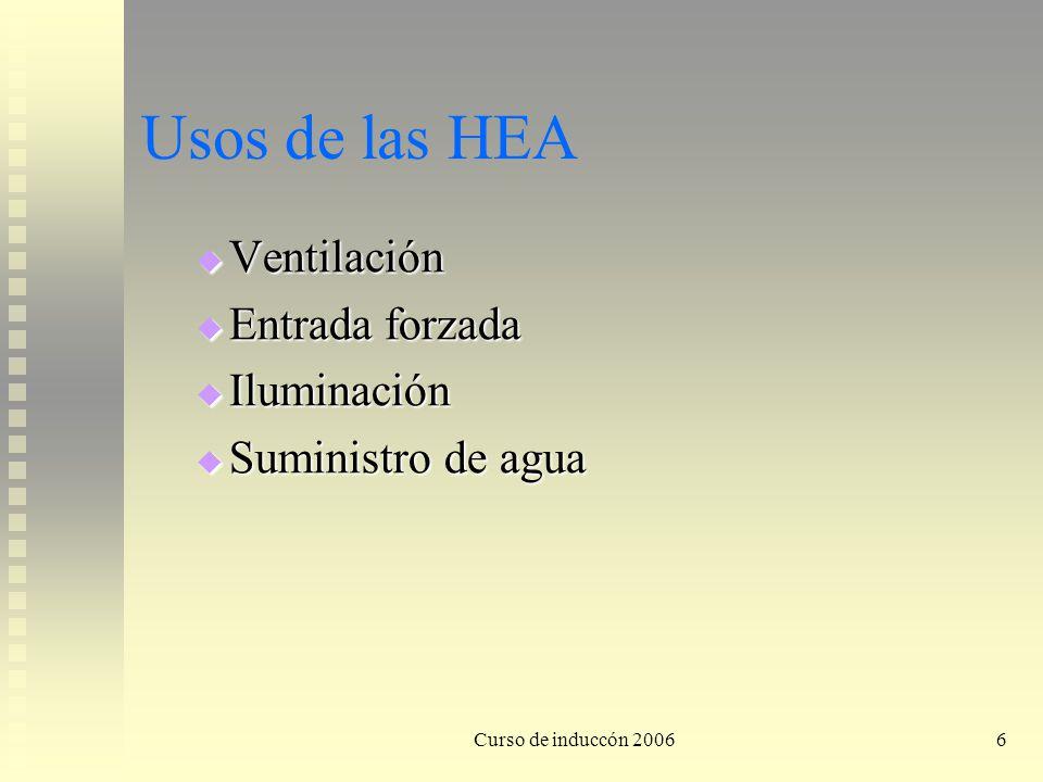 Curso de induccón 20066 Usos de las HEA Ventilación Ventilación Entrada forzada Entrada forzada Iluminación Iluminación Suministro de agua Suministro