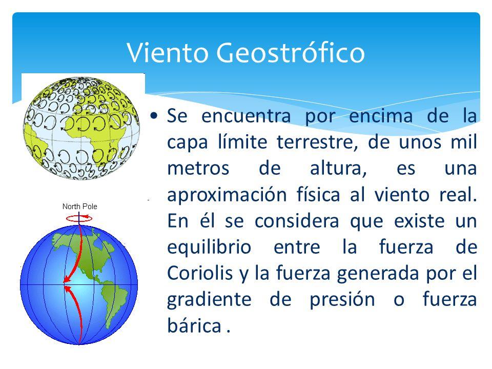 Viento Geostrófico Se encuentra por encima de la capa límite terrestre, de unos mil metros de altura, es una aproximación física al viento real. En él