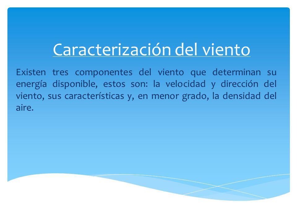 Caracterización del viento Existen tres componentes del viento que determinan su energía disponible, estos son: la velocidad y dirección del viento, s