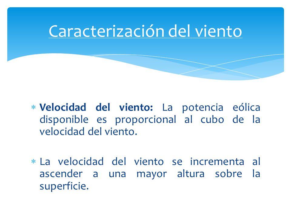 Velocidad del viento: La potencia eólica disponible es proporcional al cubo de la velocidad del viento. La velocidad del viento se incrementa al ascen