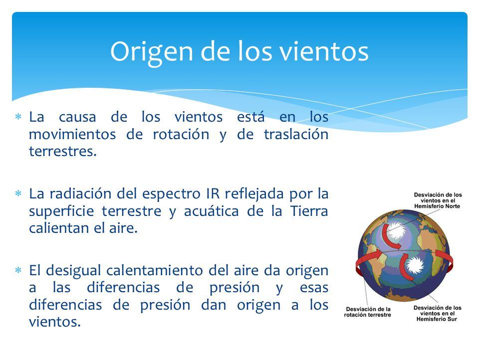 La causa de los vientos está en los movimientos de rotación y de traslación terrestres. La radiación del espectro IR reflejada por la superficie terre