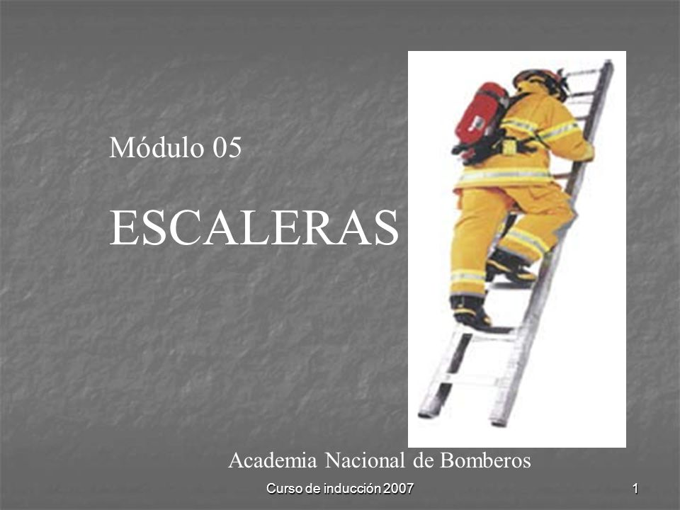 Curso de inducción 20071 Academia Nacional de Bomberos Módulo 05 ESCALERAS