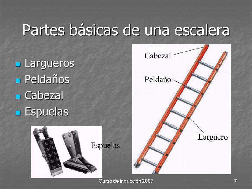Curso de inducción 20077 Partes básicas de una escalera Largueros Largueros Peldaños Peldaños Cabezal Cabezal Espuelas Espuelas Cabezal Peldaño Largue
