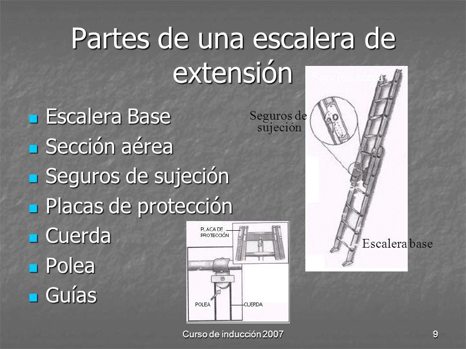 Curso de inducción 20079 Partes de una escalera de extensión Escalera Base Escalera Base Sección aérea Sección aérea Seguros de sujeción Seguros de su