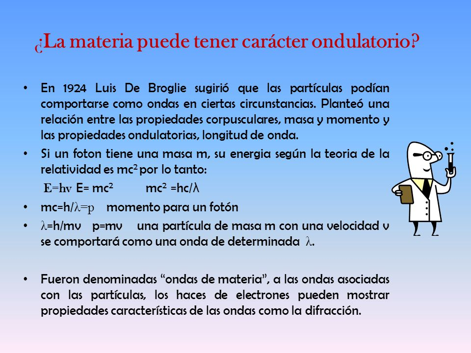 ¿La materia puede tener carácter ondulatorio? En 1924 Luis De Broglie sugirió que las partículas podían comportarse como ondas en ciertas circunstanci