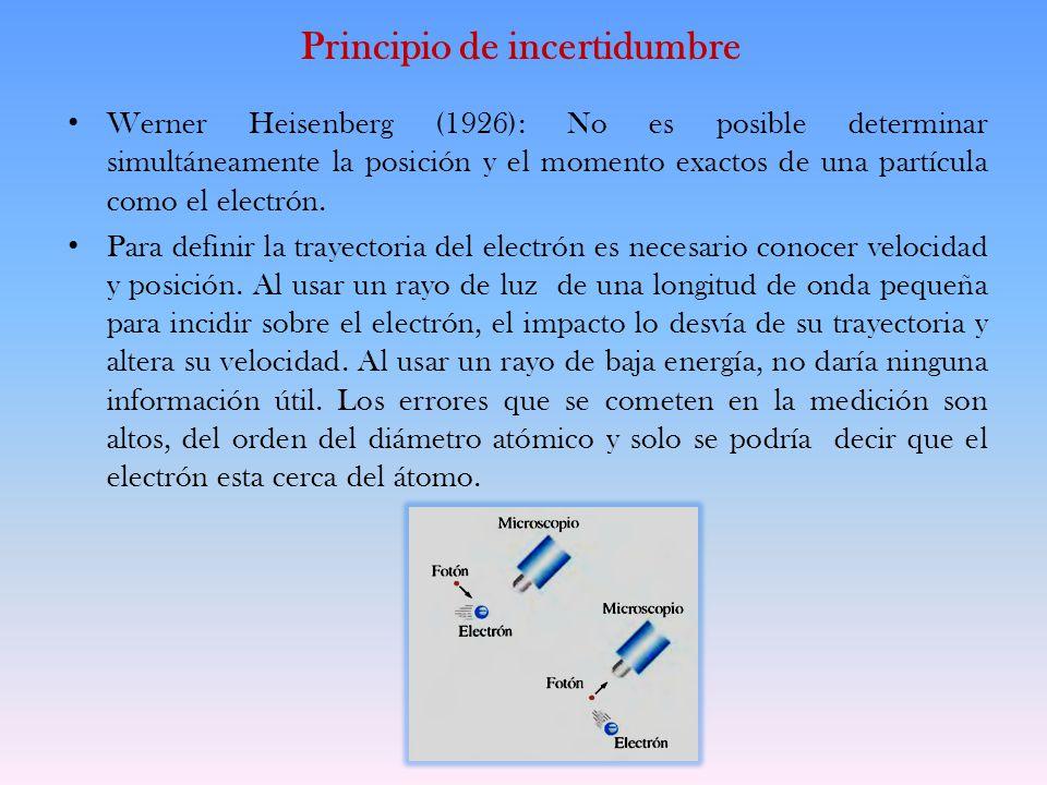 Principio de incertidumbre Werner Heisenberg (1926): No es posible determinar simultáneamente la posición y el momento exactos de una partícula como e