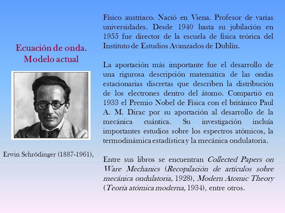 Ecuación de onda. Modelo actual Físico austriaco. Nació en Viena. Profesor de varias universidades. Desde 1940 hasta su jubilación en 1955 fue directo