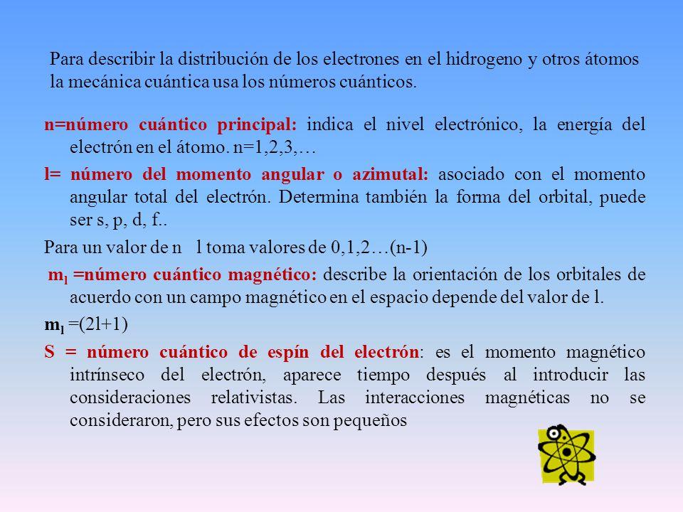 Para describir la distribución de los electrones en el hidrogeno y otros átomos la mecánica cuántica usa los números cuánticos. n=número cuántico prin