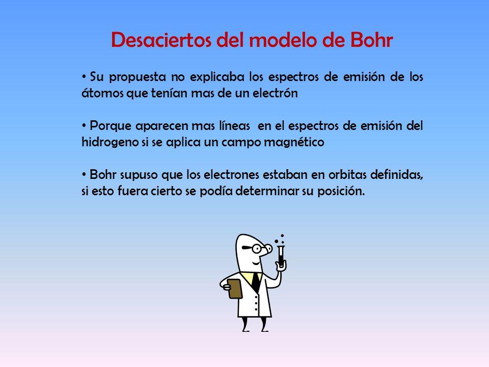 Desaciertos del modelo de Bohr Su propuesta no explicaba los espectros de emisión de los átomos que tenían mas de un electrón Porque aparecen mas líne