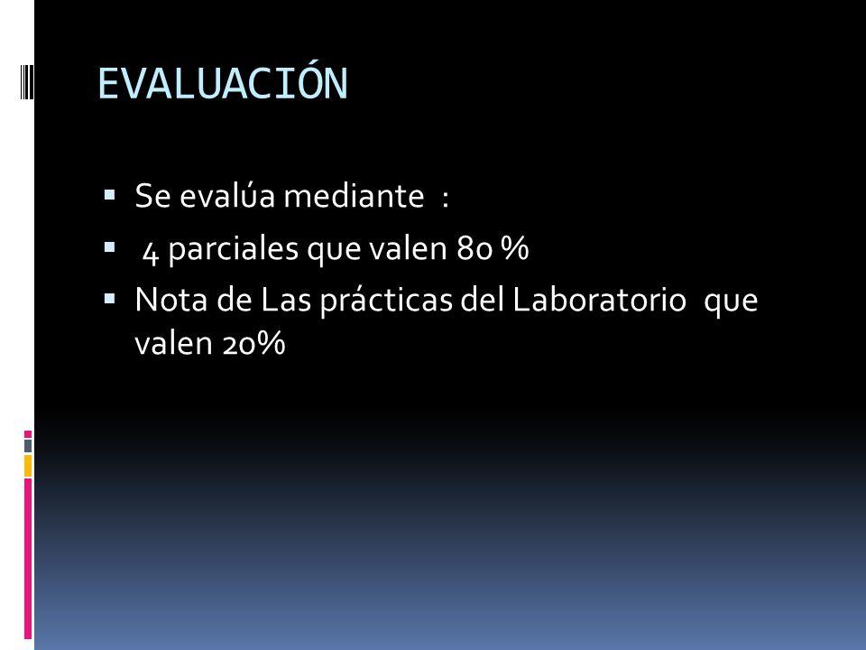 EVALUACIÓN Se evalúa mediante : 4 parciales que valen 80 % Nota de Las prácticas del Laboratorio que valen 20%