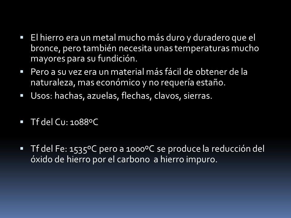 El hierro era un metal mucho más duro y duradero que el bronce, pero también necesita unas temperaturas mucho mayores para su fundición.