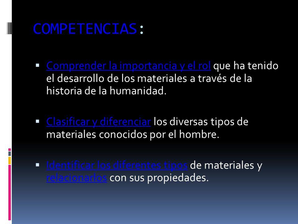 COMPETENCIAS: Comprender la importancia y el rol que ha tenido el desarrollo de los materiales a través de la historia de la humanidad.