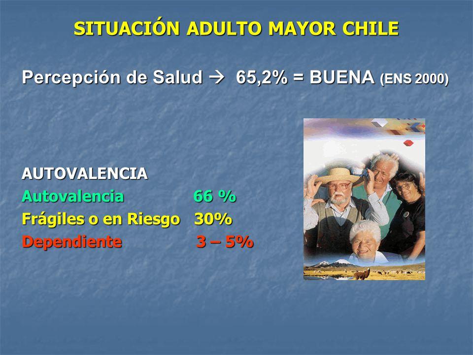 SITUACIÓN ADULTO MAYOR CHILE Percepción de Salud 65,2% = BUENA (ENS 2000) AUTOVALENCIA Autovalencia 66 % Frágiles o en Riesgo 30% Dependiente 3 – 5%