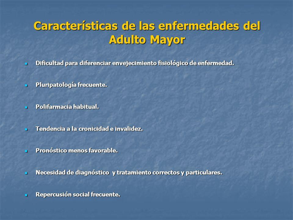 Características de las enfermedades del Adulto Mayor Dificultad para diferenciar envejecimiento fisiológico de enfermedad. Dificultad para diferenciar