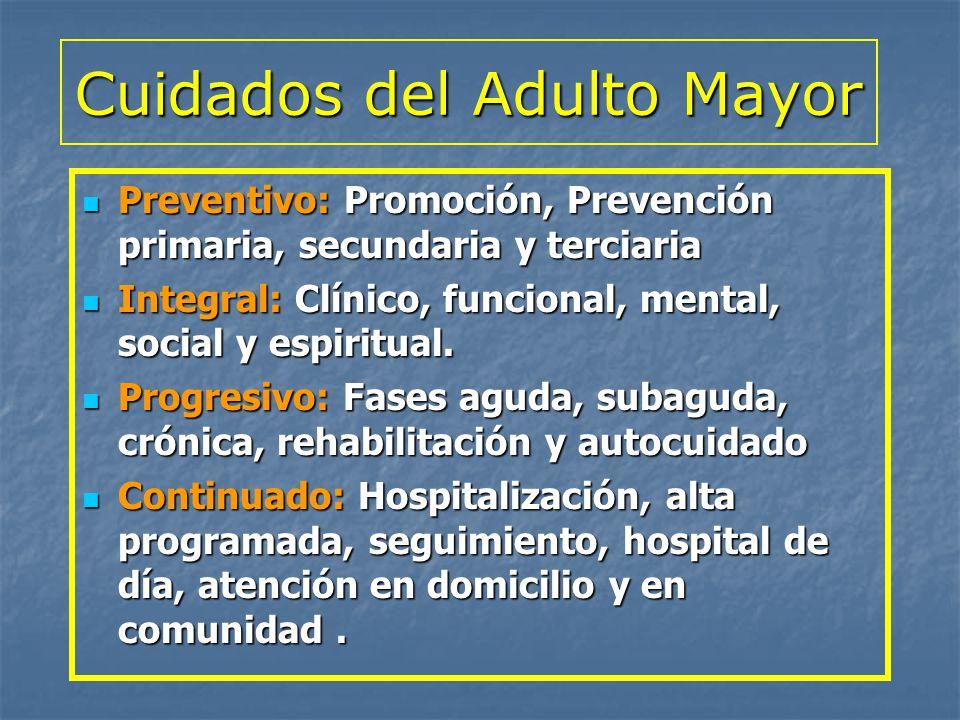 Cuidados del Adulto Mayor Preventivo: Promoción, Prevención primaria, secundaria y terciaria Preventivo: Promoción, Prevención primaria, secundaria y
