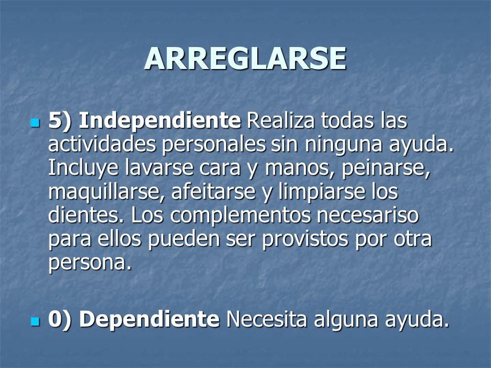 ARREGLARSE 5) Independiente Realiza todas las actividades personales sin ninguna ayuda. Incluye lavarse cara y manos, peinarse, maquillarse, afeitarse