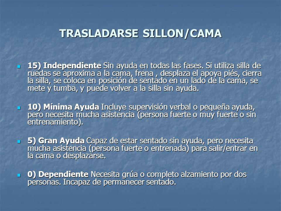 TRASLADARSE SILLON/CAMA 15) Independiente Sin ayuda en todas las fases. Si utiliza silla de ruedas se aproxima a la cama, frena, desplaza el apoya pié