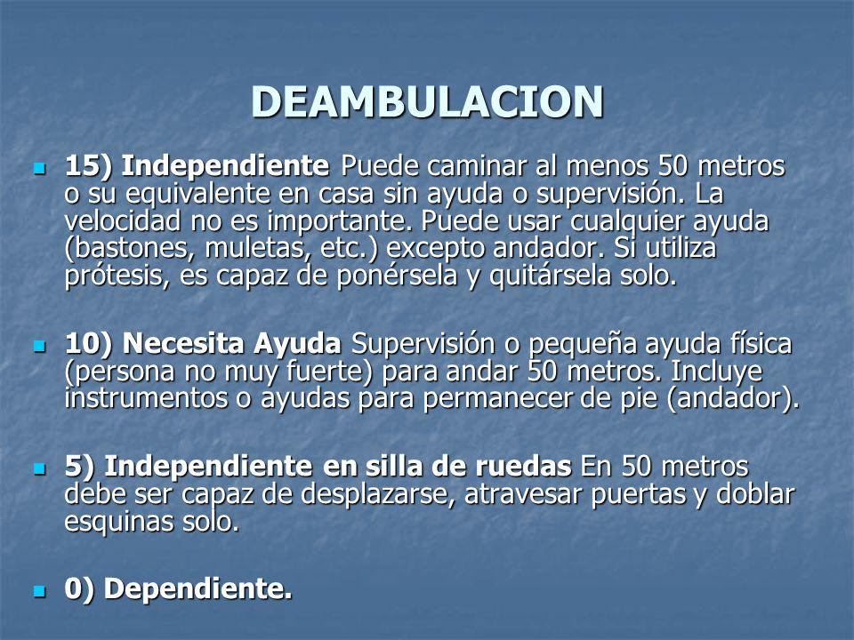 DEAMBULACION 15) Independiente Puede caminar al menos 50 metros o su equivalente en casa sin ayuda o supervisión. La velocidad no es importante. Puede