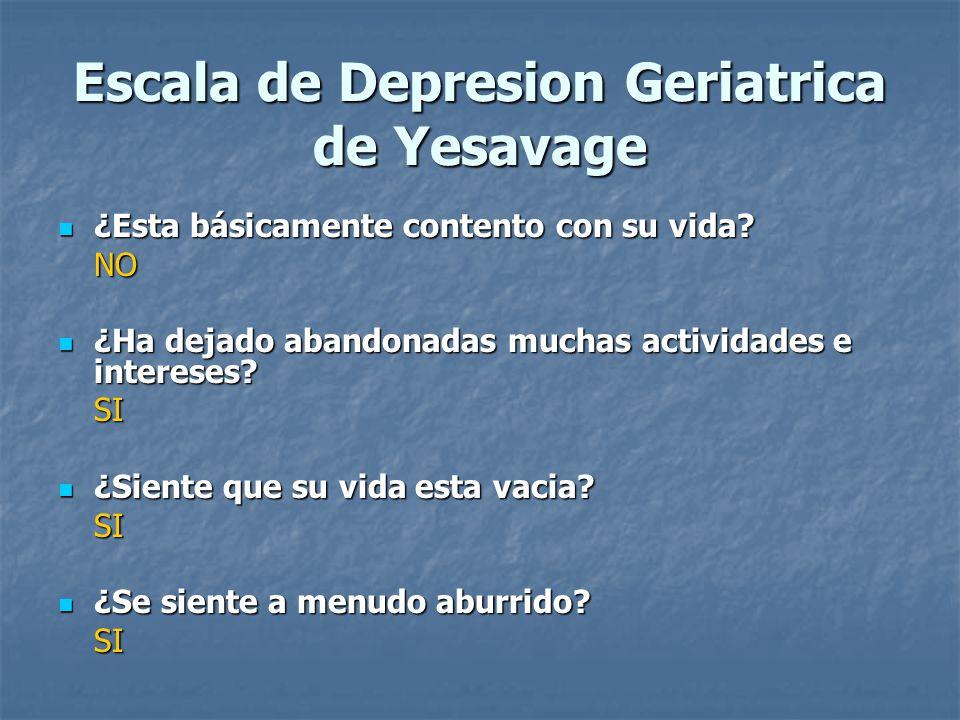 Escala de Depresion Geriatrica de Yesavage ¿Esta básicamente contento con su vida? ¿Esta básicamente contento con su vida?NO ¿Ha dejado abandonadas mu