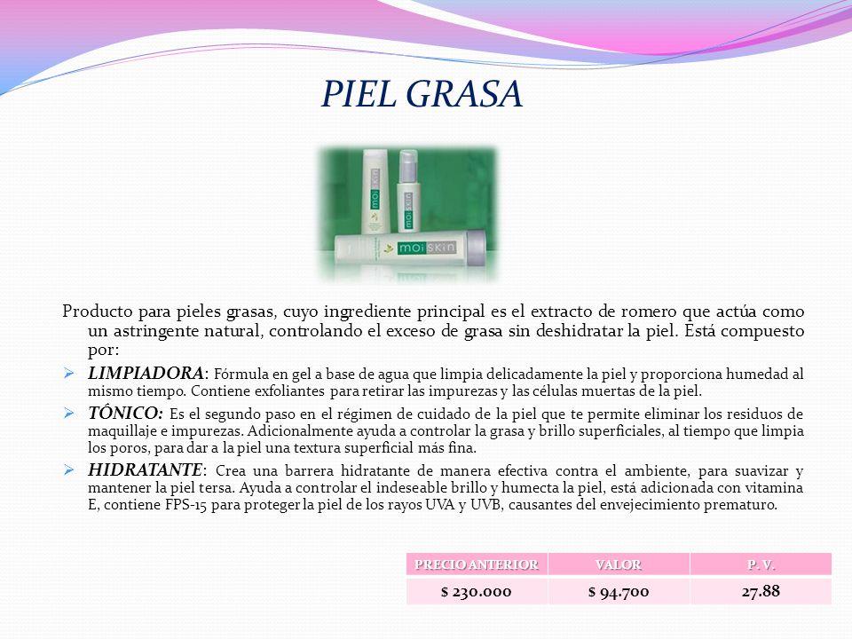 Producto para pieles grasas, cuyo ingrediente principal es el extracto de romero que actúa como un astringente natural, controlando el exceso de grasa