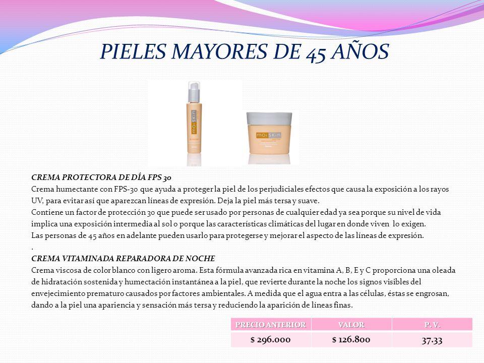 PRECIO ANTERIOR VALOR P. V. $ 296.000$ 126.80037.33 PIELES MAYORES DE 45 AÑOS CREMA PROTECTORA DE DÍA FPS 30 Crema humectante con FPS-30 que ayuda a p