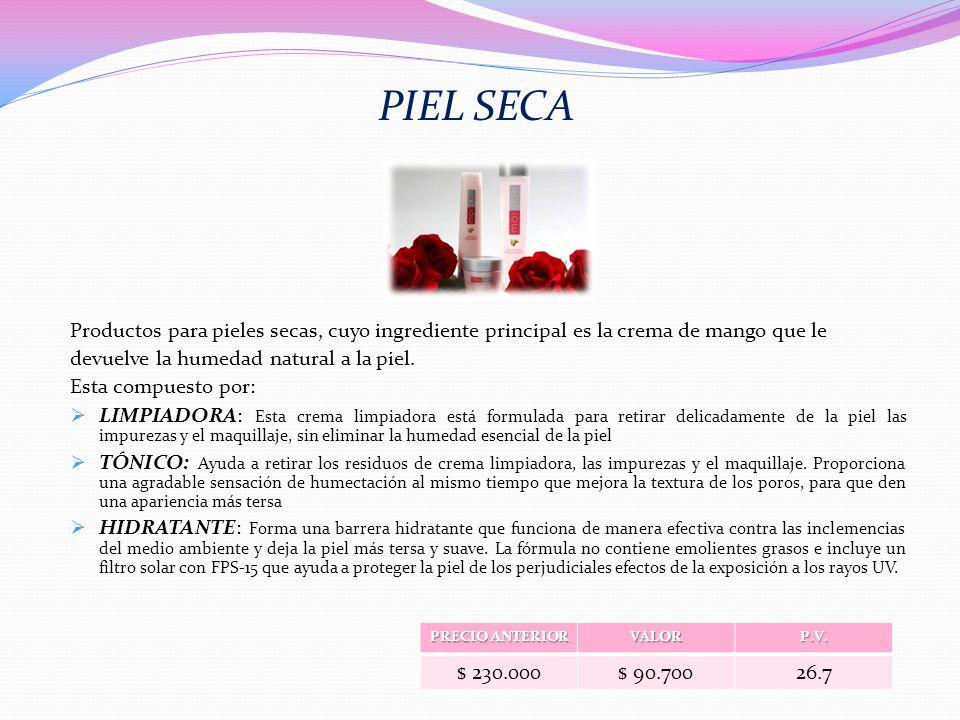 PIEL SECA Productos para pieles secas, cuyo ingrediente principal es la crema de mango que le devuelve la humedad natural a la piel. Esta compuesto po