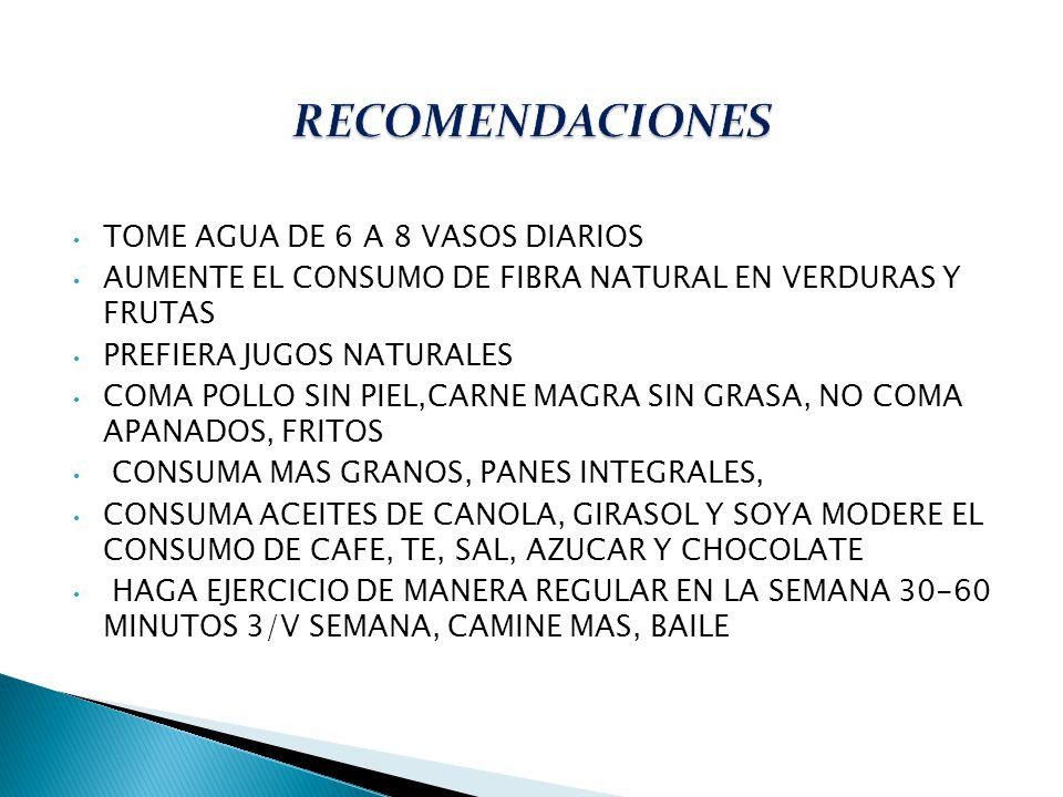 TOME AGUA DE 6 A 8 VASOS DIARIOS AUMENTE EL CONSUMO DE FIBRA NATURAL EN VERDURAS Y FRUTAS PREFIERA JUGOS NATURALES COMA POLLO SIN PIEL,CARNE MAGRA SIN