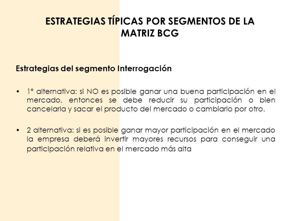 ESTRATEGIAS TÍPICAS POR SEGMENTOS DE LA MATRIZ BCG Estrategias del segmento Interrogación 1º alternativa: si NO es posible ganar una buena participaci