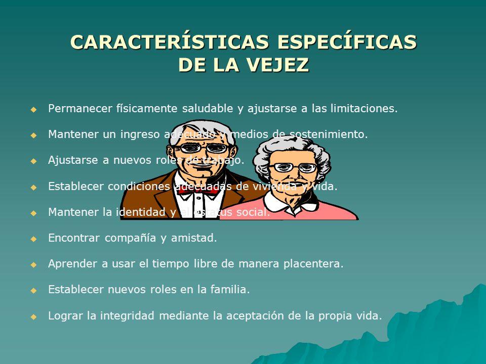 CARACTERISTICAS ESPECIFICAS DE LA EDAD MADURA Ajustarse a los cambios físicos de la mediana edad. Encontrar satisfacción y éxito en la vida profesiona