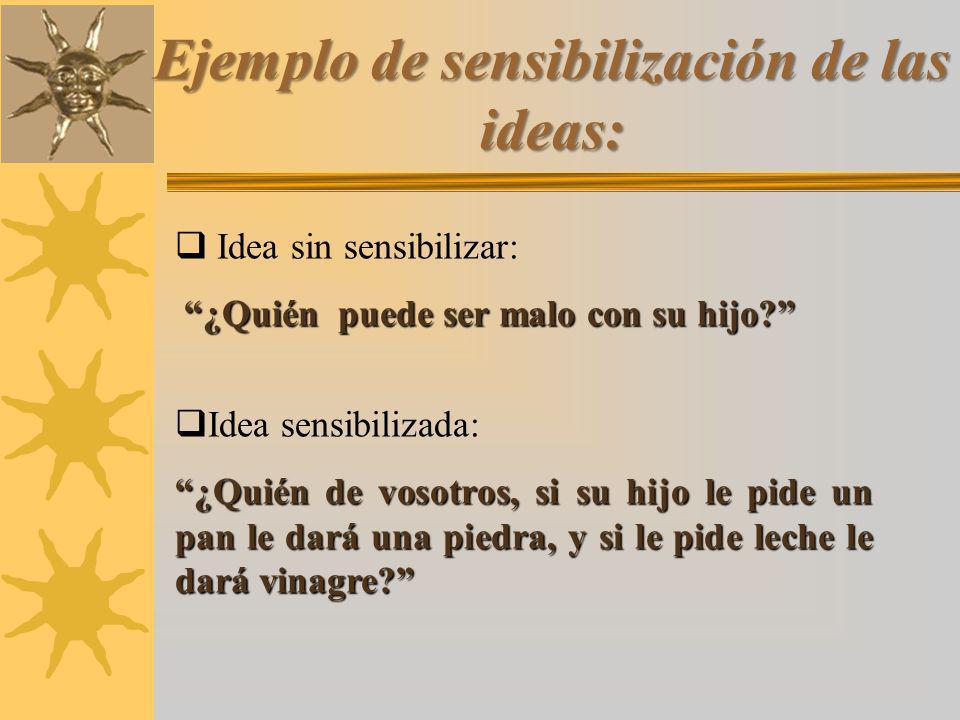 Ejemplo de sensibilización de las ideas: Idea sin sensibilizar: ¿Quién puede ser malo con su hijo.