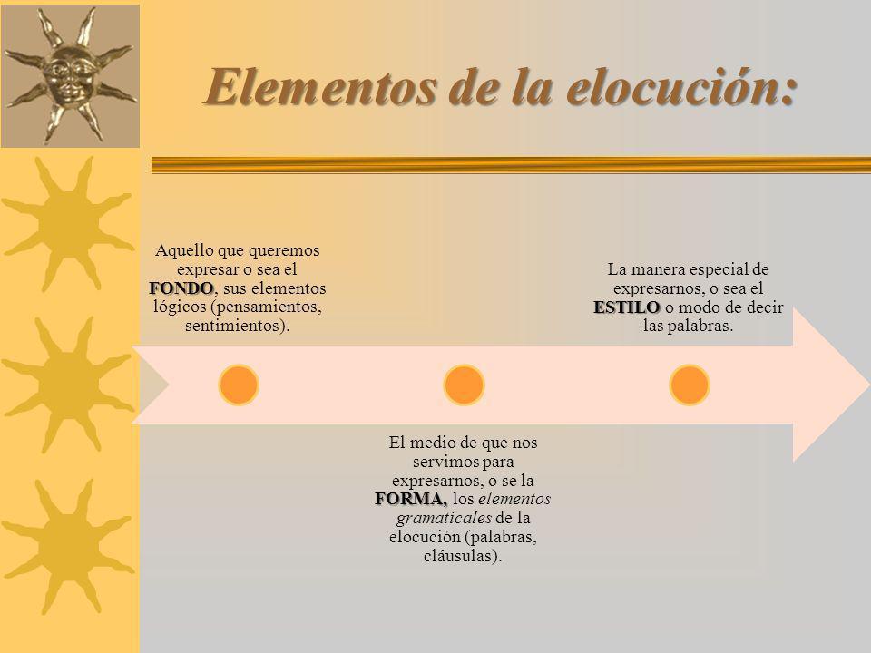 Elementos de la elocución: FONDO Aquello que queremos expresar o sea el FONDO, sus elementos lógicos (pensamientos, sentimientos).