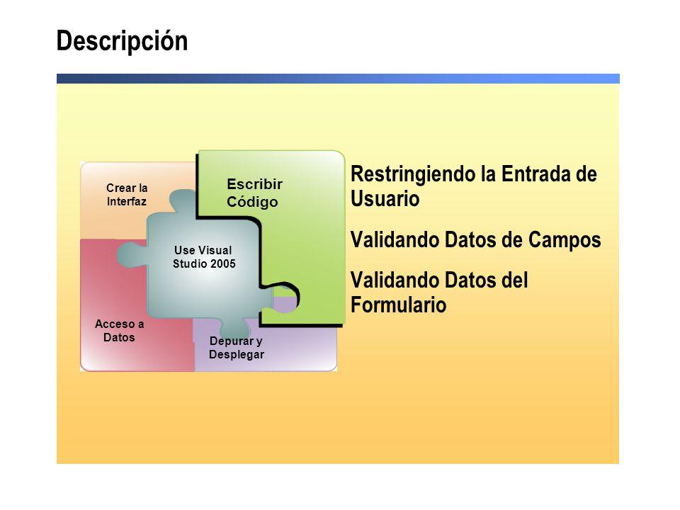 Descripción Restringiendo la Entrada de Usuario Validando Datos de Campos Validando Datos del Formulario Debug and Deploy Escribir Código Acceso a Datos Use Visual Studio 2005 Depurar y Desplegar Crear la Interfaz