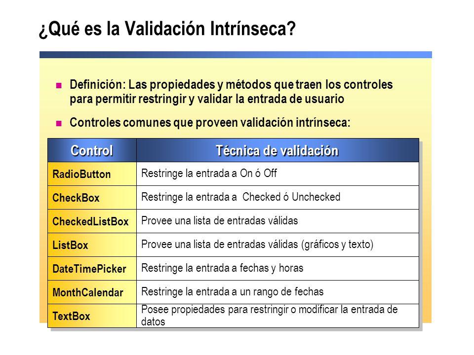 ¿Qué es la Validación Intrínseca? Definición: Las propiedades y métodos que traen los controles para permitir restringir y validar la entrada de usuar