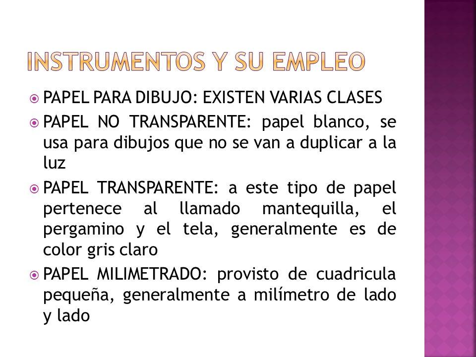 PAPEL PARA DIBUJO: EXISTEN VARIAS CLASES PAPEL NO TRANSPARENTE: papel blanco, se usa para dibujos que no se van a duplicar a la luz PAPEL TRANSPARENTE