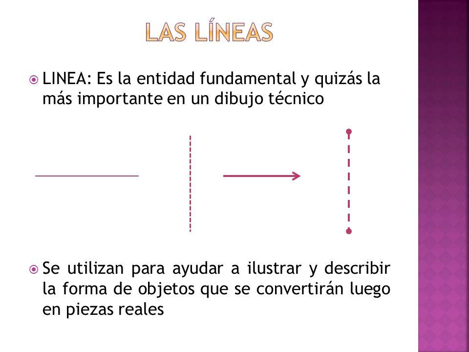 LINEA: Es la entidad fundamental y quizás la más importante en un dibujo técnico Se utilizan para ayudar a ilustrar y describir la forma de objetos qu