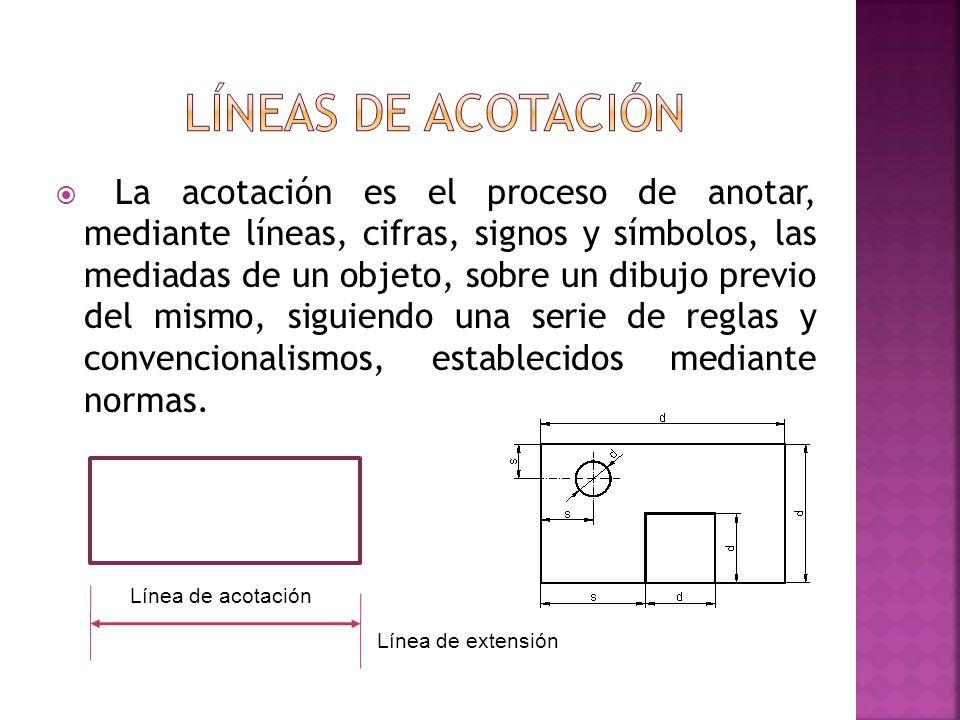 La acotación es el proceso de anotar, mediante líneas, cifras, signos y símbolos, las mediadas de un objeto, sobre un dibujo previo del mismo, siguien