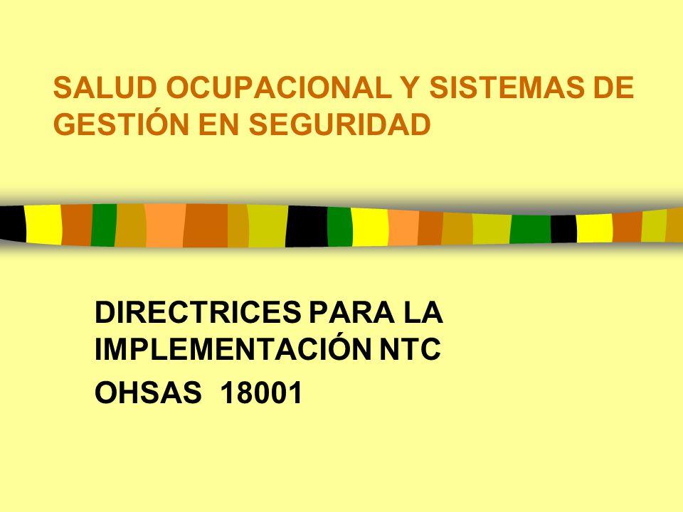 SALUD OCUPACIONAL Y SISTEMAS DE GESTIÓN EN SEGURIDAD DIRECTRICES PARA LA IMPLEMENTACIÓN NTC OHSAS 18001