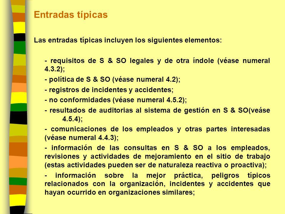 Entradas típicas Las entradas típicas incluyen los siguientes elementos: - requisitos de S & SO legales y de otra índole (véase numeral 4.3.2); - polí