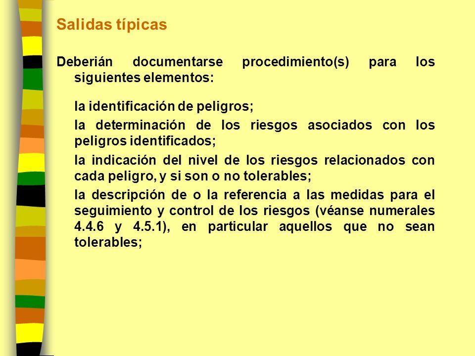 Salidas típicas Deberián documentarse procedimiento(s) para los siguientes elementos: la identificación de peligros; la determinación de los riesgos a