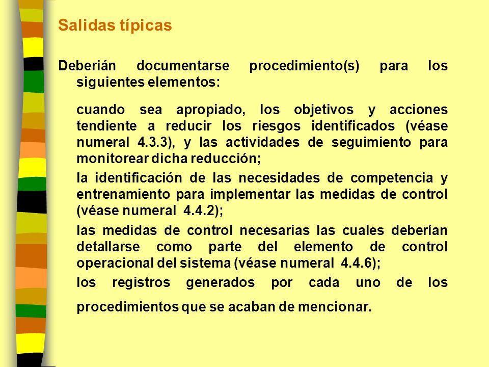 Salidas típicas Deberián documentarse procedimiento(s) para los siguientes elementos: cuando sea apropiado, los objetivos y acciones tendiente a reduc