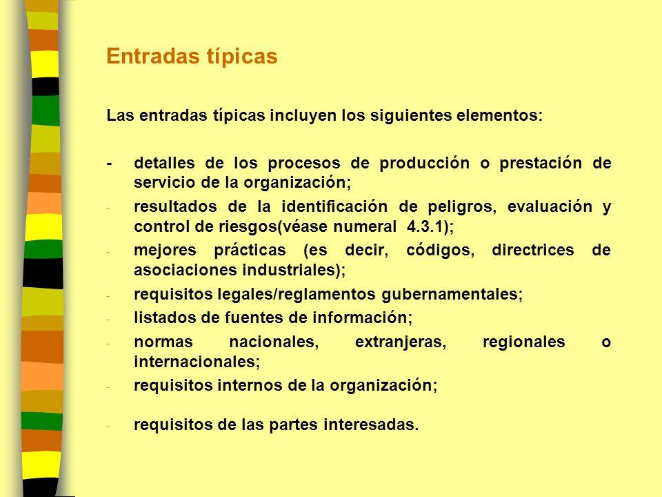 Entradas típicas Las entradas típicas incluyen los siguientes elementos: -detalles de los procesos de producción o prestación de servicio de la organi