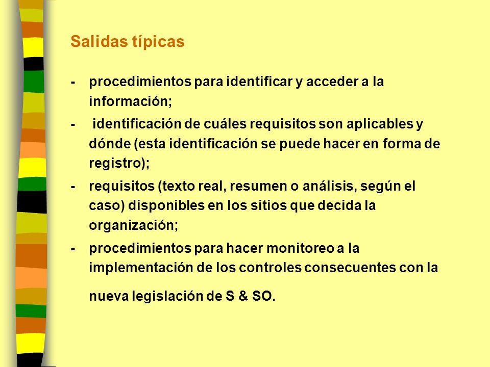 Salidas típicas - procedimientos para identificar y acceder a la información; - identificación de cuáles requisitos son aplicables y dónde (esta ident