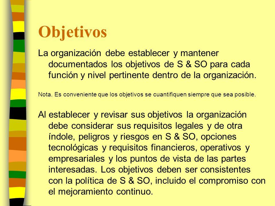 Objetivos La organización debe establecer y mantener documentados los objetivos de S & SO para cada función y nivel pertinente dentro de la organizaci